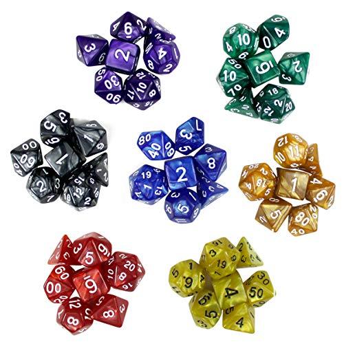 Dokpav 49 Stück 7 Farben Polyhedrische Würfel Polyhedral Würfel Set Polyedrischen Spielwürfel für RPG Dungeons und Dragons Pathfinder Brettspiele d20, d12, 2 d10 (00-90 und 0-9), d8, d6 und d4