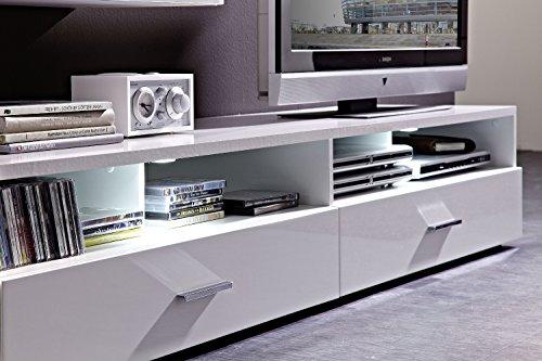 Peter MNWW511082 TV-/Wohnlösung glänzend Nachbildung, Hochganz MDF, inclusive LED-Beleuchtung, circa 296 x 196 x 50 cm, weiß - 2
