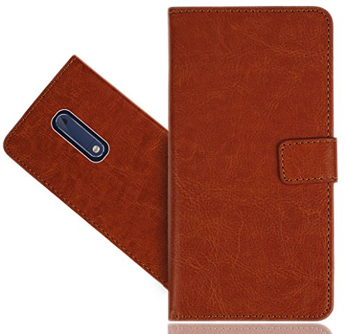 Nokia 5 Handy Tasche, FoneExpert® Wallet Case Cover Genuine Hüllen Etui Hülle Ledertasche Lederhülle Schutzhülle Für Nokia 5 Brown Handy Case