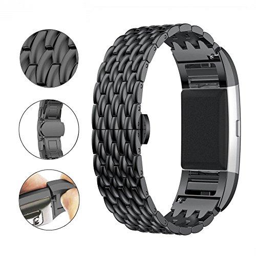 Aottom für Fitbit Charge 2 Band Schwarz Damen,Armbänder Edelstahl Schmuck Fitbit 2 Strap Uhrarmband Ersatzarmband Smart Watch Band Uhrenarmbänder mit Metallschließe für Fitbit Charge 2