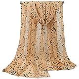 Leisial Mujer Pañuelos Gasa de Larga Símbolo Musical del Abrigo del Mantón de Bufandas Suave Gasa de Chal Seda Verano para Señora,Negro 160*50cm