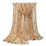 Leisial Mujer Pañuelos Gasa de Larga Símbolo Musical del Abrigo del Mantón de Bufandas Suave Gasa de Chal Seda Verano para Señora,Caqui 160*50cm