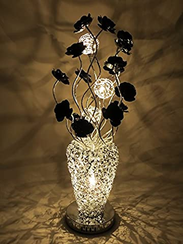 Silver Arabian Basket Style Woven Wire and Aluminium Medium Table Lamp LED with Bloomed Black