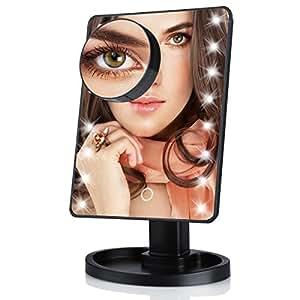 make up spiegel touchscreen mit 16 led beleuchtung mit. Black Bedroom Furniture Sets. Home Design Ideas