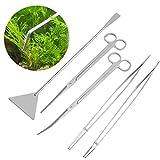 UEETEK, kit 6in 1 per aquascaping,in acciaio inox, strumenti per piante acquatiche da acquario, set di pinze, forbici e spatola