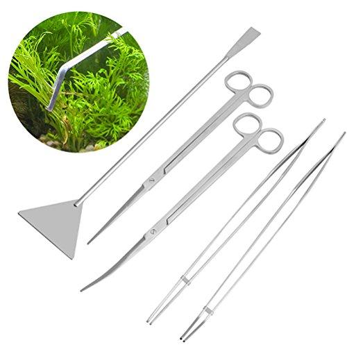 Ueetek Aquascaping  6-in-1-Werkzeugset für Aquarium, Edelstahl, Wasserpflanzen-Pflegeset mit Pinzette, Schere und Spachtel -
