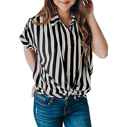 Damen T Shirt, CixNy Bluse Damen Kurzarm Sommer Lässige Ärmel Gestreifte Krawatte Mit Knöpfen Oberteil Tops (Schwarz, Large)