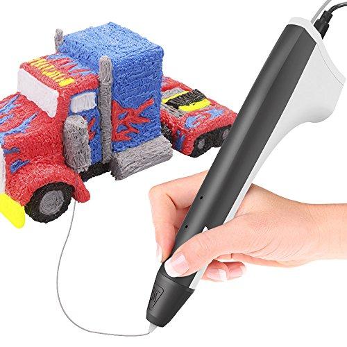 Tecboss Intelligent 3D Stylo Impression, 3D Stylo Imprimante avec Adaptateur UE, Cable USB et 2 Paquets de Filaments (Black)