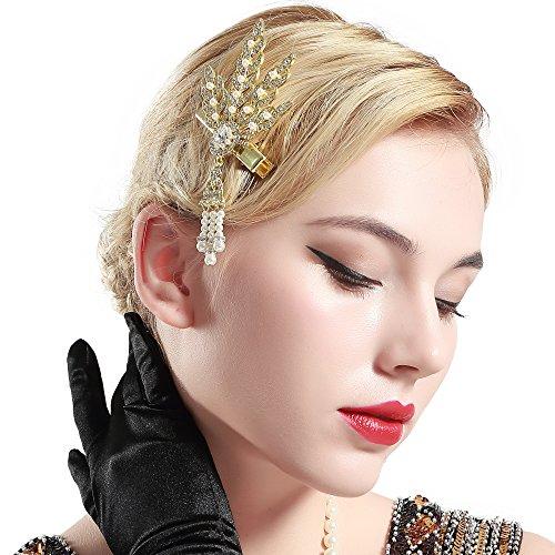 Coucoland 1920s Stirnband Haarclips Blatt Muster Damen 20er Jahre Stil Elegant Haarspange Gatsby Kostüm Flapper Charleston Haar Accessoires (Gold) - 1920er Jahren Kleid-muster