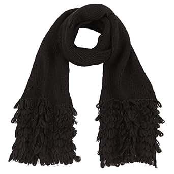 Baby Alpaga - Echarpe noire en maille avec franges 100% en laine de baby alpaga