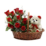 FloraIndia Red Roses with Teddy Basket (Bunch of 11)