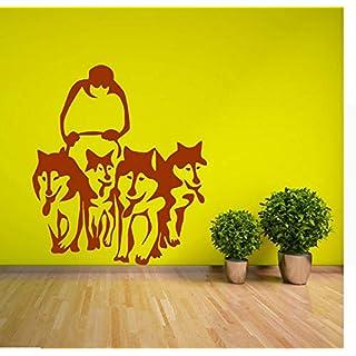 Wuyyii Husky Dog Huskies Schlitten Vinyl Wandkunst Aufkleber Aufkleber Wohnzimmer Adesiv Home Decor Wandaufkleber WandbildC
