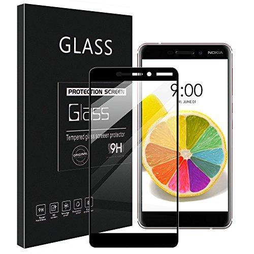 UniqueMe [3 Pezzi Nokia 6.1 / Nokia 6 2018 Pellicola Protettiva, [Copertura Completa] Proteggi Schermo in Vetro temperato con Sostituzione a Vita - Nero