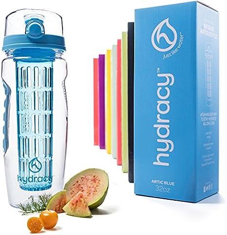 Hydracy Trinkflasche für Fruchtschorlen (1Liter) in verschiedenen Farben, mit langem