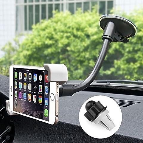 Handyhalterung Auto kfz Halterung smartphone 360° drehbar Universal Autohalterung Smartphone für Scheibe, Armaturenbrett kompatibel mit iPhone 7 7 plus 6 6 plus 6S Samsung Galaxy S7 usw. bis zu 6 Zoll