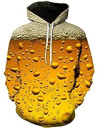 Unisex Sudadera con Capucha 3D Colorido Gráfico Impresion Sudaderas Divertido Hoodie con Bolsillos Drawstring Cerveza