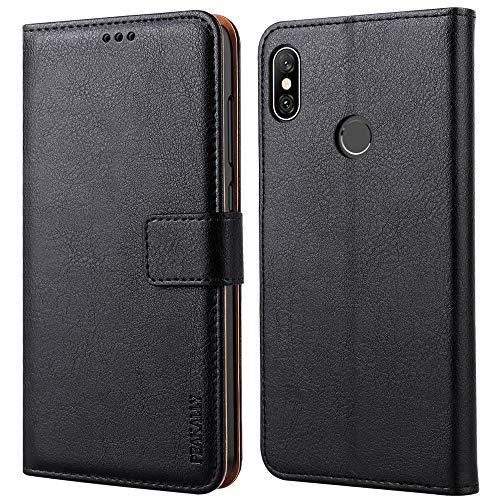 Peakally Cover per Xiaomi Redmi Note 6 PRO, Flip Caso in PU Pelle Premium Portafoglio Custodia per Xiaomi Redmi Note 6 PRO, [Kickstand] [Slot per Schede] [Chiusura Magnetica]-Nero