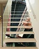 3D Treppenaufkleber Set 18cm x 100cm Musik Akkordeon spielen Kunst alt retro Aufkleber Treppe selbstklebend Treppenhaus Bodenaufkleber wasserdicht Flur B1T823, Anzahl Stufen:6 Stufen