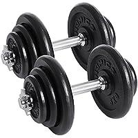 SONGMICS Juego de 2 Mancuernas de Fitness Pesas Hombres Discos de Hierro Fundido 40kg SYL40T