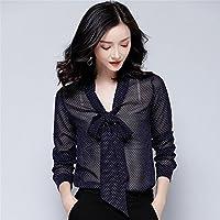 Señoras de moda Casual camisa manga larga camisa de gasa camisa suelta todos coinciden con temperamento,Azul oscuro,L