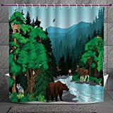 Stylish Shower Curtain 2.0 [ Cabin Decor,Evening in Beautiful Mountains Forest with Animals Cold River Illustration,Multicolor ] Fabric Bathroom Decor Set with Hooks Amazon deals