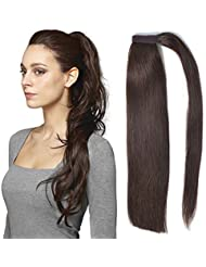 100 Human Hair Ponytail Extensions Dark Brown Colour 18 Inch 100g One Piece Wrap