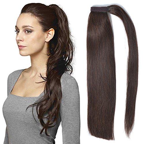 Extension di veri capelli umani con fermagli pettinati a coda di cavallo, in pezzo unico