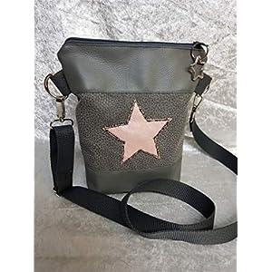 Handtasche Stern Umhängetasche Tasche Glitzer Bag grau mit Anhänger Stern Vintage Stil Geschenkidee