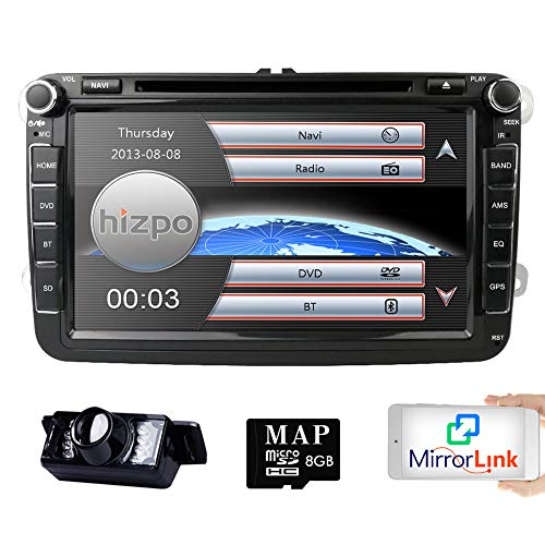 Hizpo Car Radio for Volkswagen/Skoda/Seat/Moniceiver/Naviceiver with GPS Navigation/Bluetooth Hands-Free Function 8 Inch Touchscreen/DVD/CD Player USB and SD/2 DIN Double Din Standard Size - Boss Dvd-player