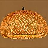 Lampada da comodino in bambù lavorato a mano in bambù moderno Lampada di buona qualità con paralumi in bambù per sala da pranzo White cable 100cm DIA30CM H18CM