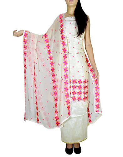 GiftPiper Unstitched Phulkari Suit Piece Cotton Silk-Offwhite&Pink