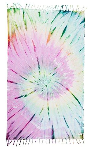 Bersuse 100% Baumwolle - Trinidad Türkisches Handtuch - Badestrand Fouta Peshtemal - Binden färben (Tie Dye) Pestemal - 96 x 162 cm Bunt (Dye Tie Terry)