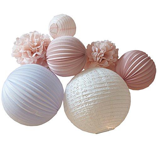 Laternen, Lampions und Pompoms 7-teiliges Set | pastellrosa und weiß