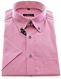 ETERNA Herren Kurzarm Hemd Modern Fit Button-Down-Kragen rosa / weiß kariert mit Patch 8301.51.C144