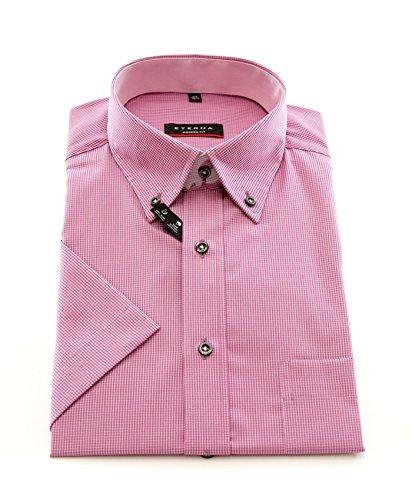 ETERNA Herren Kurzarm Hemd Modern Fit Button-Down-Kragen rosa / weiß kariert mit Patch 8301.51.C144 Rosa