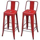 vidaXL 2 Tabourets de Bar Hauts Rouge Chaise de bar Tabouret bar Mobilier de bar