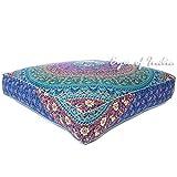 Eyes of India 35' Grande Cuadrada Grande Suelo Funda De Almohadón Puf Mandala Hippie Colores Decorativos Bohemio India Boho Cama para Perro - Azul Oscuro #2, 35 X 35 in.(88 X 88 cm)