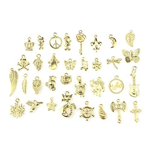 Charms, Bestim incuk Wholesale Bulk 50Stück gemischt Charms gold Anhänger für Schmuck Armband Halskette DIY Basteln,