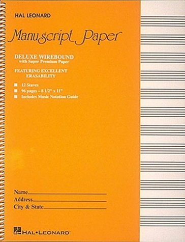 Deluxe Wirebound Super Premium Manuscript Paper (Gold Cover) by Hal Leonard Publishing Corporation (Creator) (1-Dec-1987) Spiral-bound