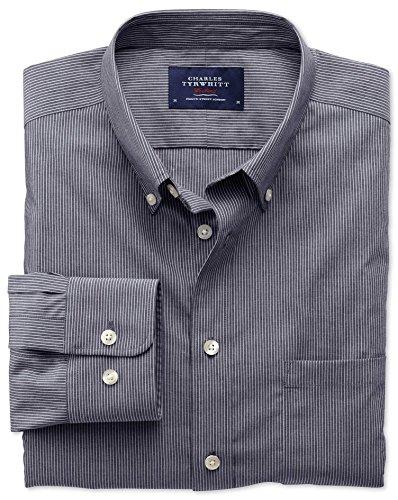 Bügelfreies Extra Slim Fit Hemd aus Popeline in indigoblau mit Streifen Indigo (Knopfmanschetten Cuff)