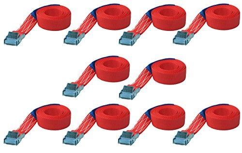 10x 1 meter Befestigungsriemen Spanngurt Zurrgurte Schnellspanner Schnellverschluss Gurt Bindegurte mit Klemmschloss 25mm Breit 10er set - Gurt-hardware