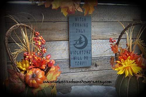 Wood Plaque Holzschild Halloween Dekoration Hexe Parking Only, Violators Will be Toad/Lustiges Schild Herbstdekor/Halloweenschild 30,5 x 14 cm