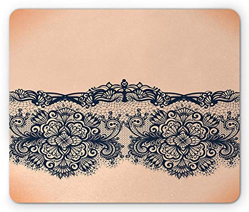 Abstract Mouse Pad, Lace Detailed Image with Orange Like Ombre Background with Floral Design, Standard Size Rectangle Non-Slip Rubber Mousepad, Peach and Indigo -