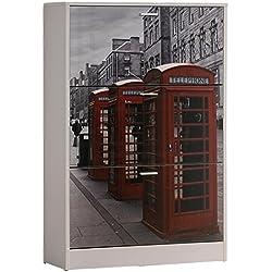 Studio Decor London Zapatero, Madera, Blanco, 122x75x24 cm