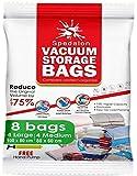 Lot de 8 sacs de rangement sous vide réutilisables - (4 grand + 4 moyens) avec pompe manuelle incluse pour vos voyages. Boite pour vêtements, couettes, draps de lit, oreillers, couvertures aspirateur