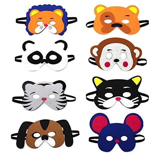 U&X Tiermasken Filz Kinder Animal Masks Masken Kindermasken für Kinder mit Elastischen Seil 8 Stück Ideal for Children's Birthday Party & ()