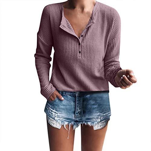 OverDose Damen Urlaub Reisen Stil Frauen Casual DailyLong Sleeve Henley-Shirt Rippstrickbluse Taste Tunika Outdoor Beach Slim Tops Pullover Pullover(Helles Lila,EU-42/CN-XL)