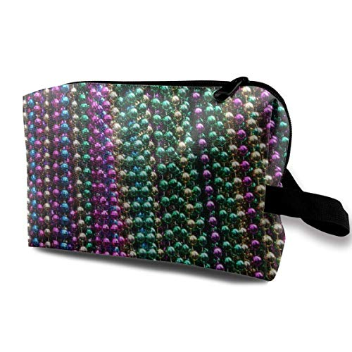 Mardi Gras Beads Small Travel Toiletry Bag Super Light Toiletry Organizer for Overnight Trip Bag