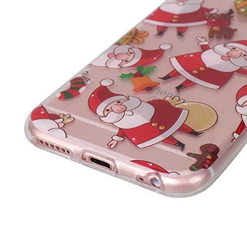 iPhone 6S Plus Hülle Weihnachten, Rosa Schleife iPhone 6 Plus Schutzhülle Ultra Dünn Transparent TPU Silikon Backcover Schale Weihnachten Muster Handyhülle für iPhone 6 Plus / 6S Plus Weihnachtsmann