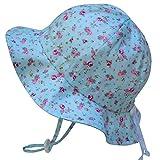 Twinklebelle Atmungsaktive Sonnenhüte fürs Kleinkind (Mädchen) 50 UPF, Hutgröße verstellbar, mit Nackenriemen (Groß: 2-12J, Schlapphut: Retro Rose)